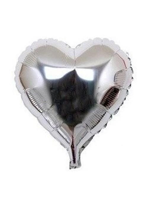 Balões Metalizados Coração Prata Tamanho P - 5 Unidades