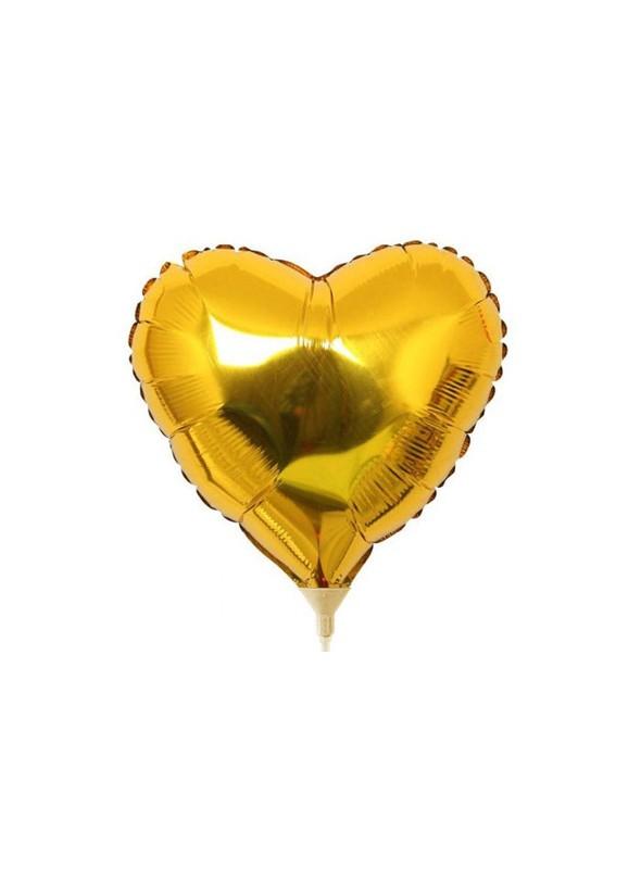 Balões Metalizados Coração Dourado Tamanho P - 5 Unidades