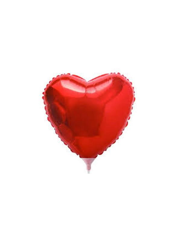 Balões Metalizados Coração Vermelho Tamanho P - 5 Unidades