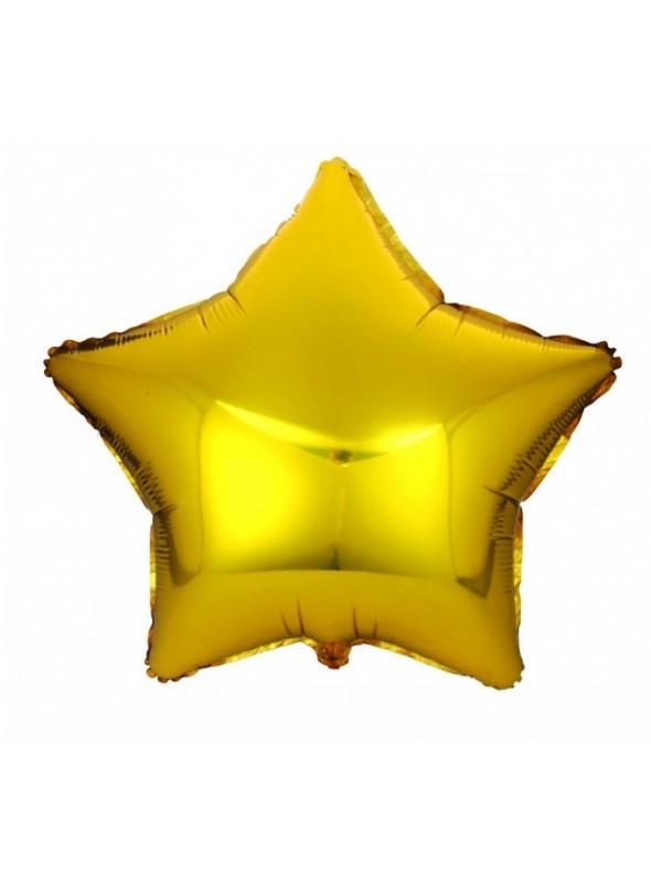 Balões Metalizados Estrela Dourado Tamanho P - 5 Unidades
