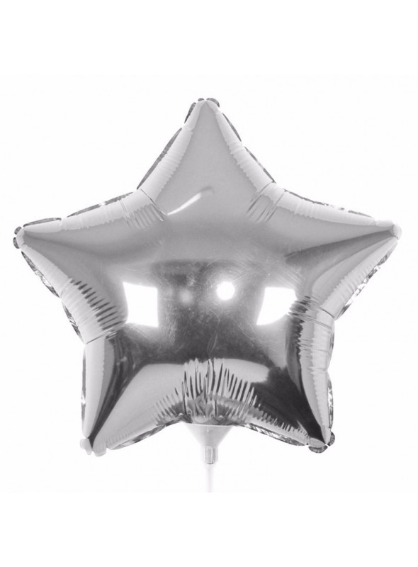 Balões Metalizados Estrela Prata Tamanho P - 5 Unidades