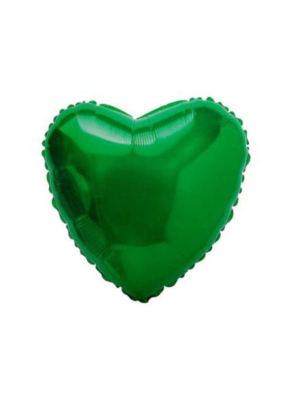 Balões Metalizados Coração Verde - 10 unidades