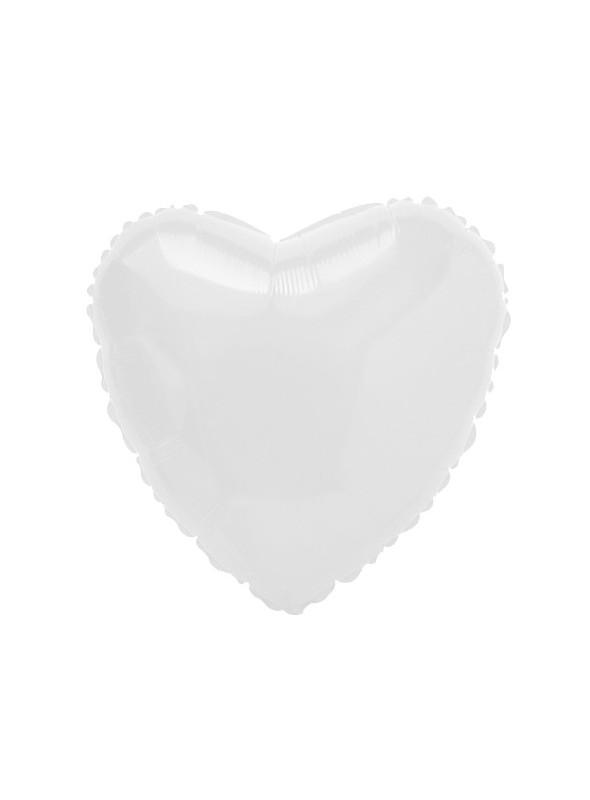 Balões Metalizados Coração Branco - 10 Unidades