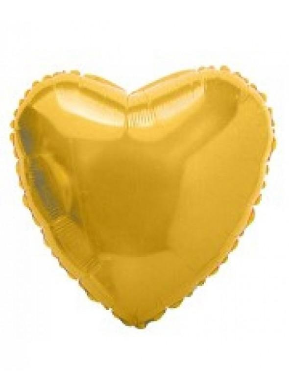 Balões Metalizados Coração Dourado - 10 Unidades