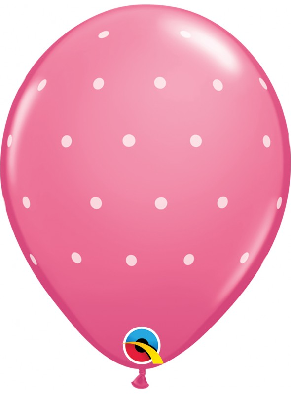Balões De Látex Rosa Bolinhas Brancas - 10 Unidades