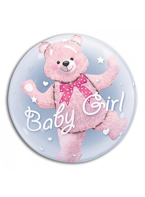 Balão Bubble Duplo Ursinho Baby Girl – 1 unidade