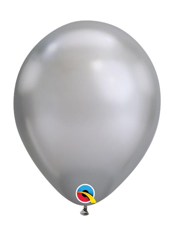 Balões de Látex Prata Chrome - 5 unidades