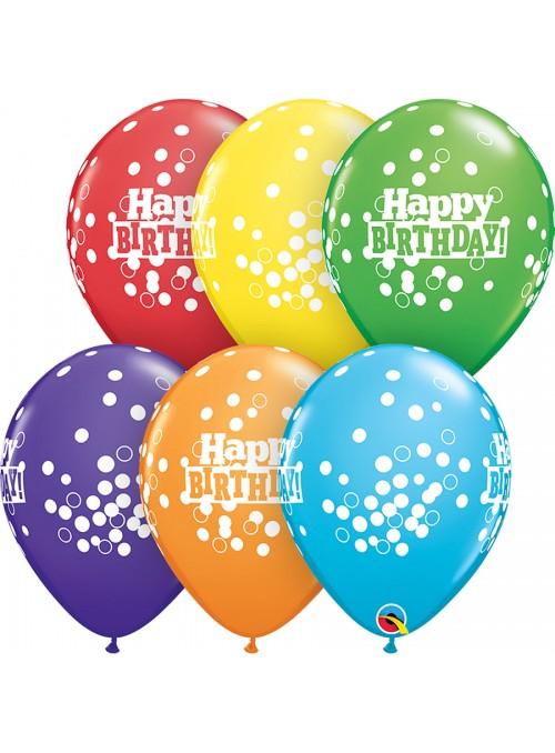 Balões de Látex Confetes Happy Birthday – 10 unidades