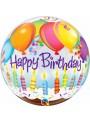 Balão Bubble Transparente Happy Birthday Balões e Bolo – 1 unidade