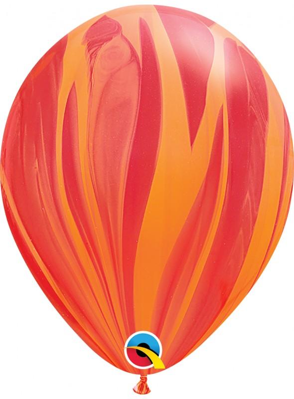 Balões de Látex Marmorizado Vermelho e Laranja – 5 unidades