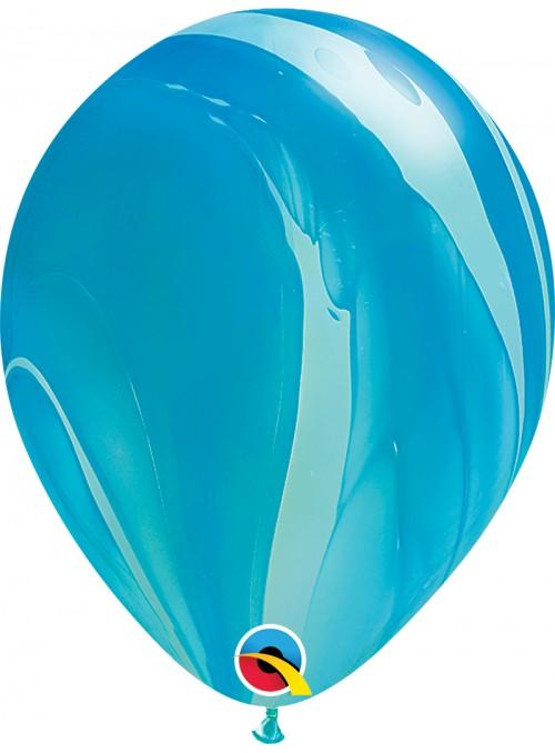Balões de Látex Marmorizado Azul – 5 unidades