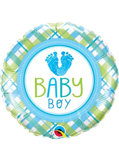 Balão Metalizado Redondo Baby Azul - 1 unidade