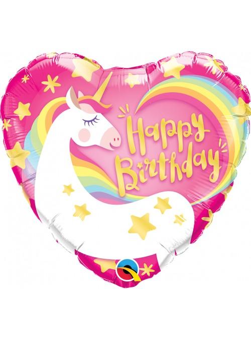 Balão Metalizado Happy Birthday Unicórnio – 1 unidade