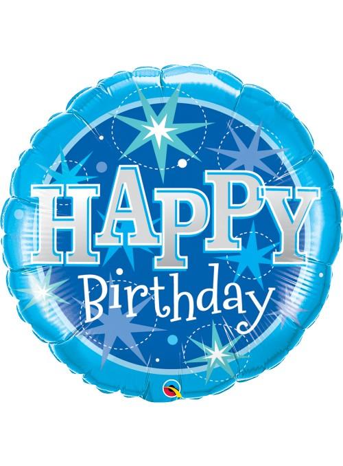 Balão Metalizado Happy Birthday Azul – 1 unidade
