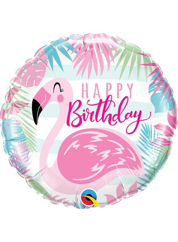 Balão Metalizado Happy Birthday Flamingo – 1 unidade