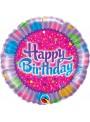 Balão Metalizado Redondo Happy Birthday Cupcake – 1 unidade