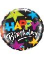 Balão Metalizado Happy Birthday Estrelas – 1 unidade