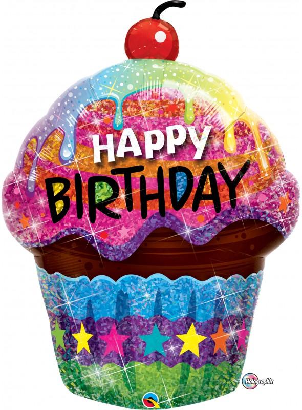 Balão Metalizado Holográfico Happy Birthday Cupcake – 1 unidade