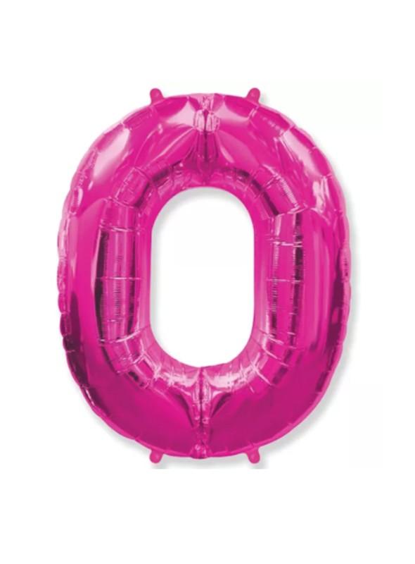 Balão Metalizado Rosa Número 0 – 1 unidade