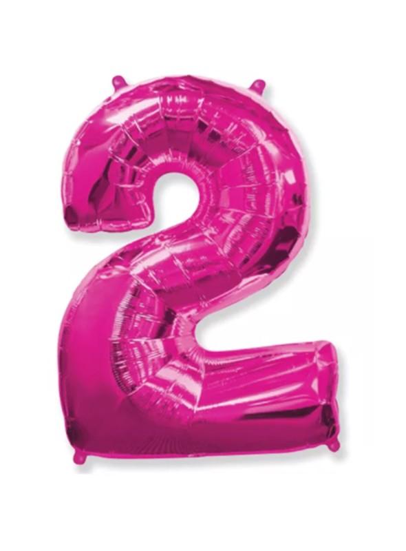 Balão Metalizado Rosa Número 2 – 1 unidade