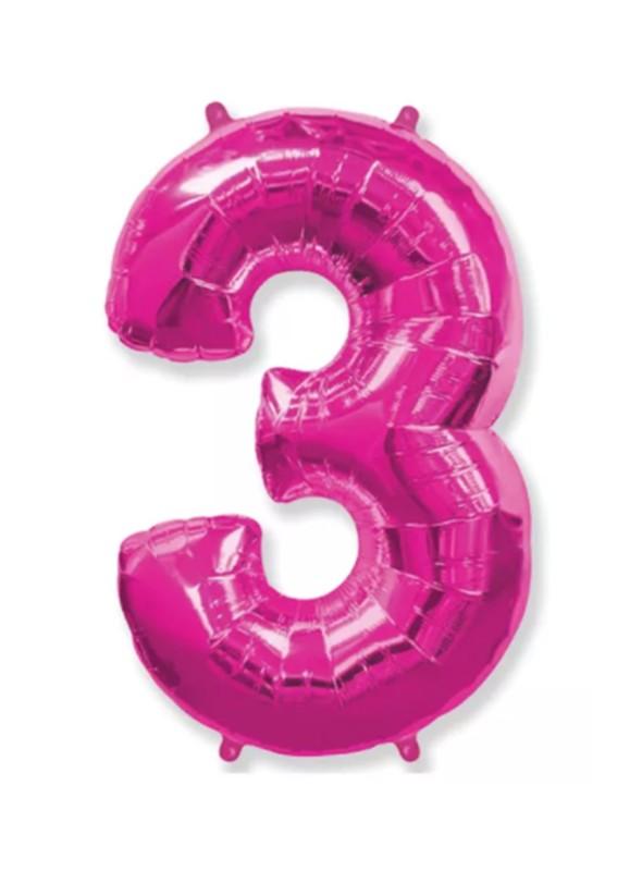 Balão Metalizado Rosa Número 3 – 1 unidade