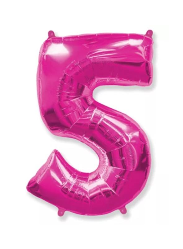 Balão Metalizado Rosa Número 5 – 1 unidade