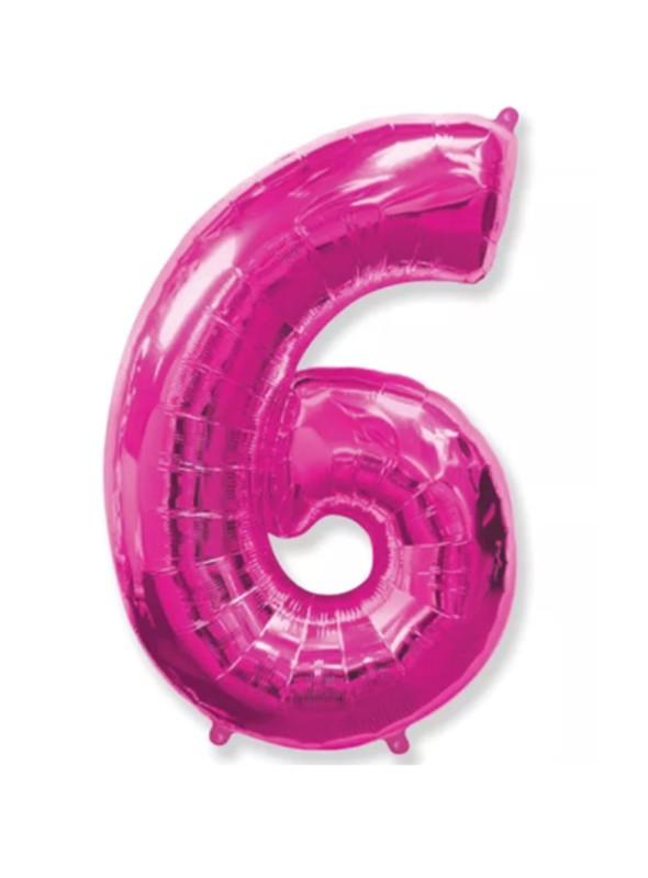 Balão Metalizado Rosa Número 6 – 1 unidade