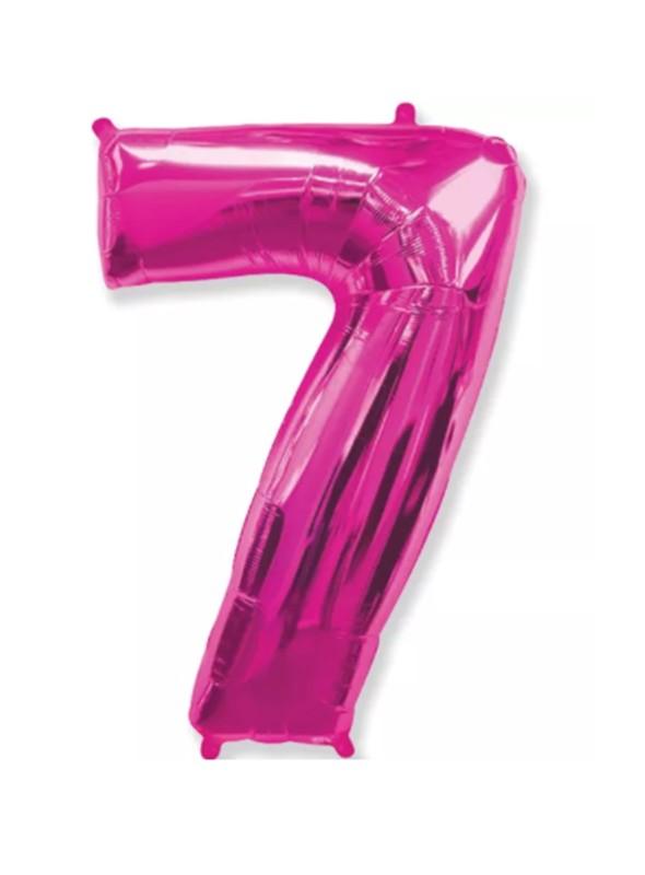 Balão Metalizado Rosa Número 7 – 1 unidade