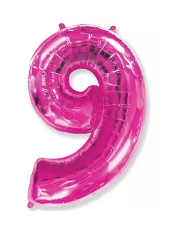 Balão Metalizado Rosa Número 9 – 1 unidade