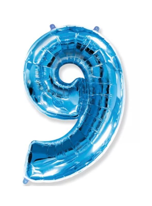 Balão Metalizado Azul Número 9 – 1 unidade