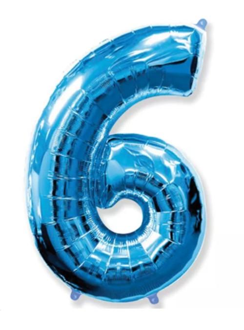 Balão Metalizado Azul Número 6 – 1 unidade