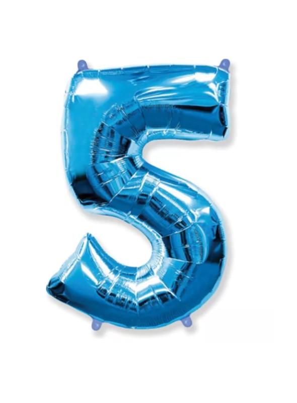 Balão Metalizado Azul Número 5 – 1 unidade