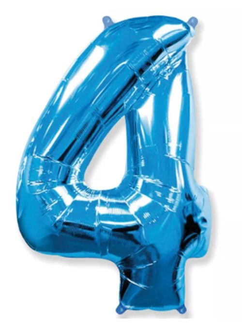 Balão Metalizado Azul Número 4 – 1 unidade