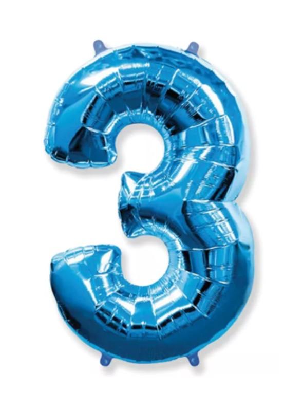 Balão Metalizado Azul Número 3 – 1 unidade