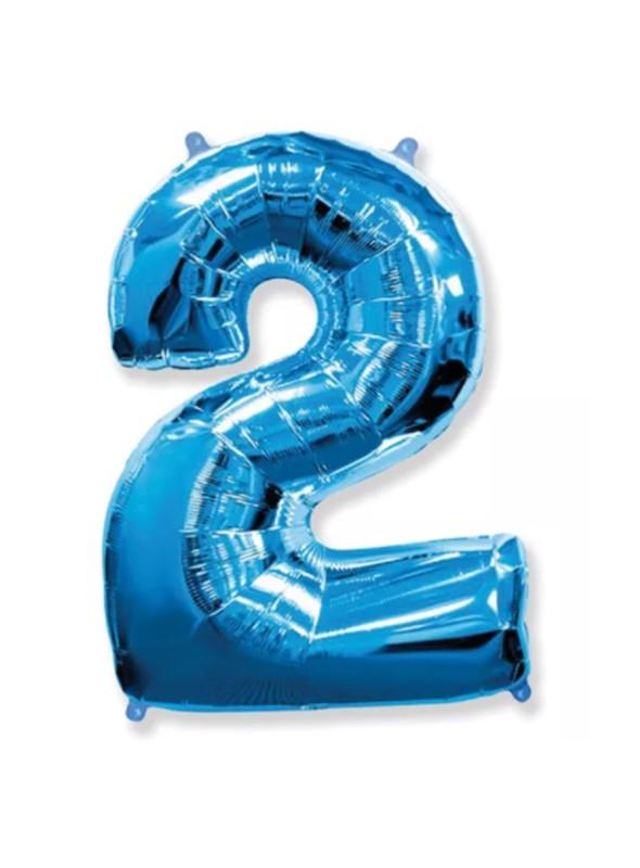 Balão Metalizado Azul Número 2 – 1 unidade