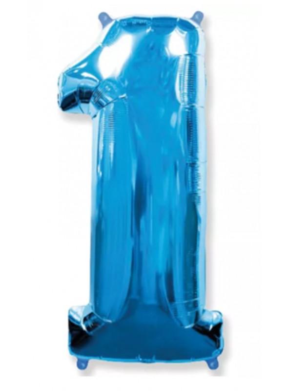 Balão Metalizado Azul Número 1 – 1 unidade